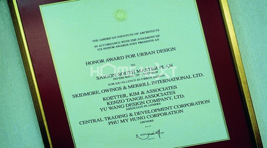 Giải thưởng danh dự về thiết kế đô thị năm 1997 do Viện Kiến trúc Hoa Kỳ trao tặng tháng 5/1997