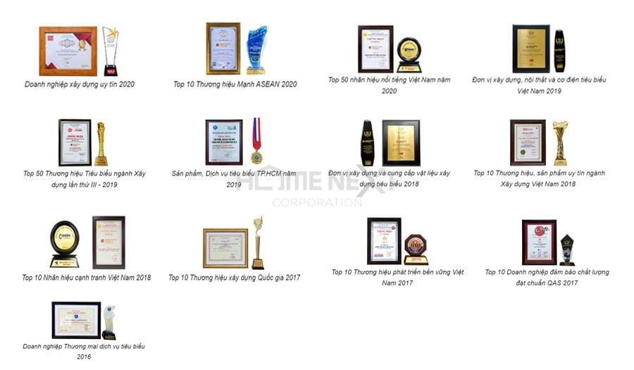 Tổng hợp giải thưởng danh giá của Hưng Thịnh Incons