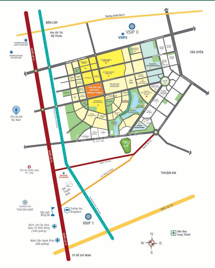 bản đồ thành phố mới Bình Dương