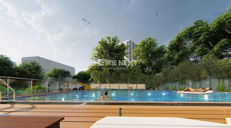 Hồ bơi tràn bờ được thiết kế hiện đại