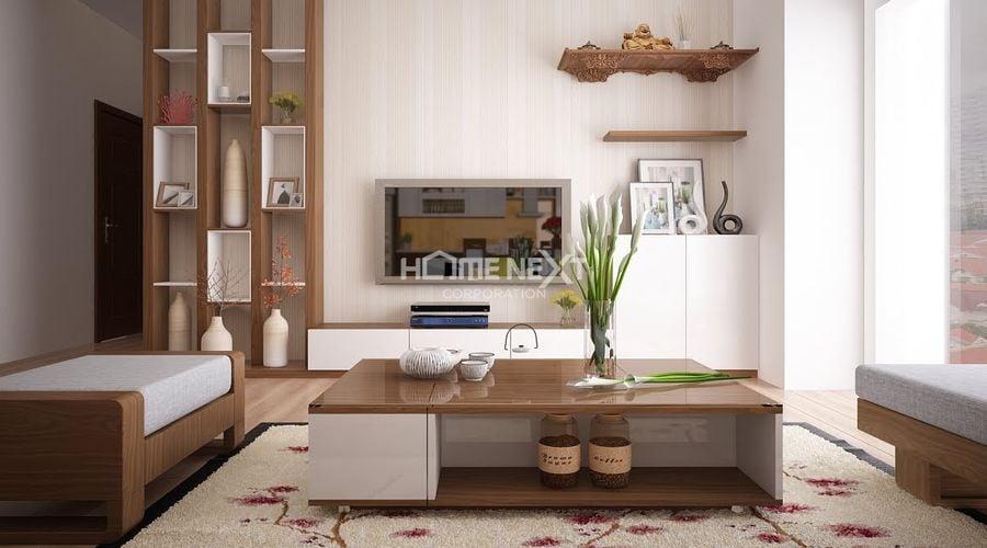 Phá góc trở thành điểm nhấn đặc biệt trong không gian phòng khách