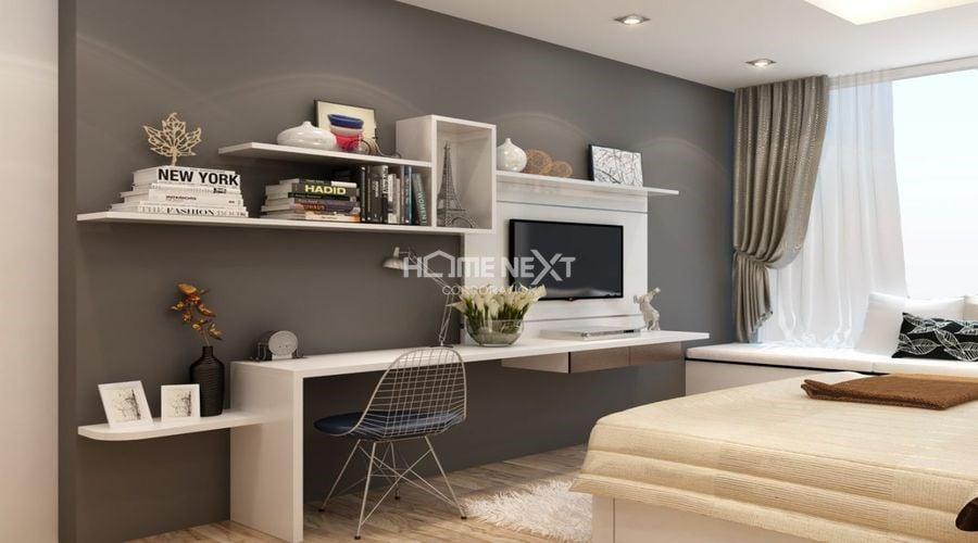 Phòng ngủ với thiết kế kệ tiện dụng
