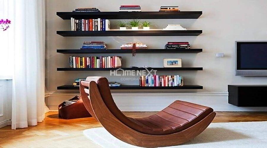 Kệ gỗ trang trí phòng khách thanh ngang đơn giản nhưng vẫn đầy tinh tế và sang trọng