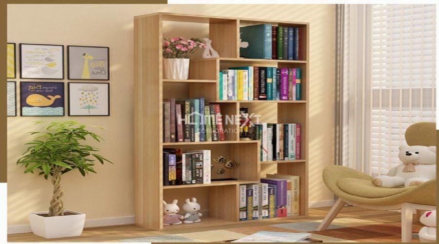 Không gian kiến trúc bắt mắt với kệ sách gỗ đứng hiện đại