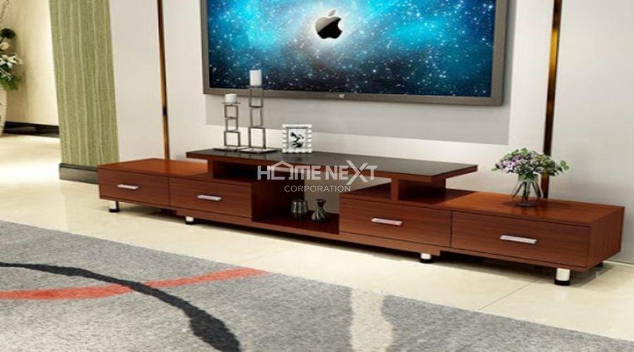 Kệ tivi gỗ hiện đại, sang trọng với gam màu nâu nổi bật