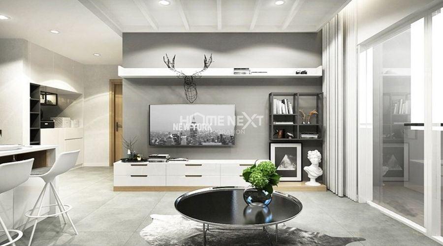 Kệ ti vi và kệ treo trang trí phòng khách đơn giản, phối màu trắng và đen hài hòa