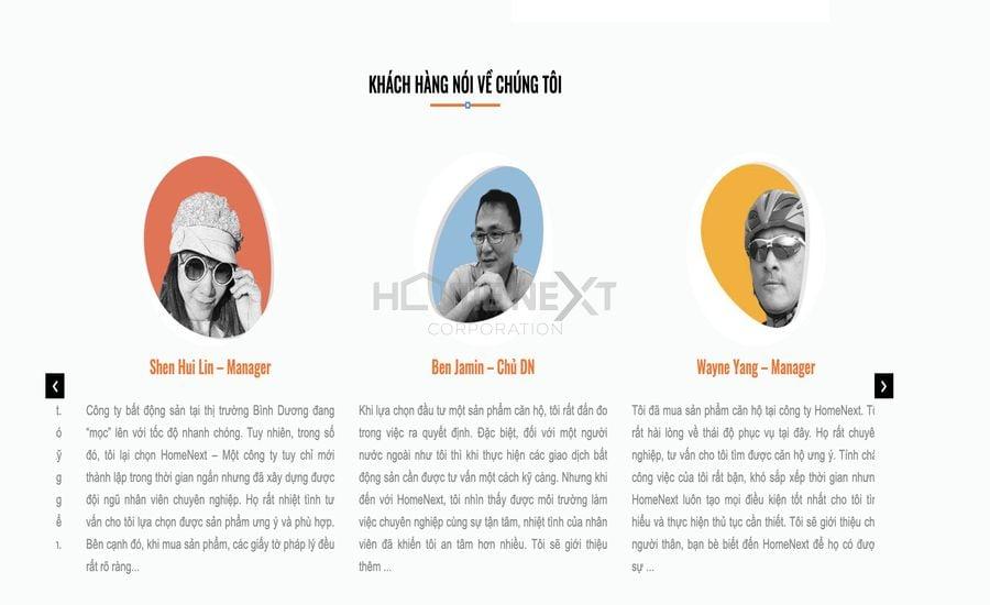 khách hàng nói gì về côn ty HomeNext