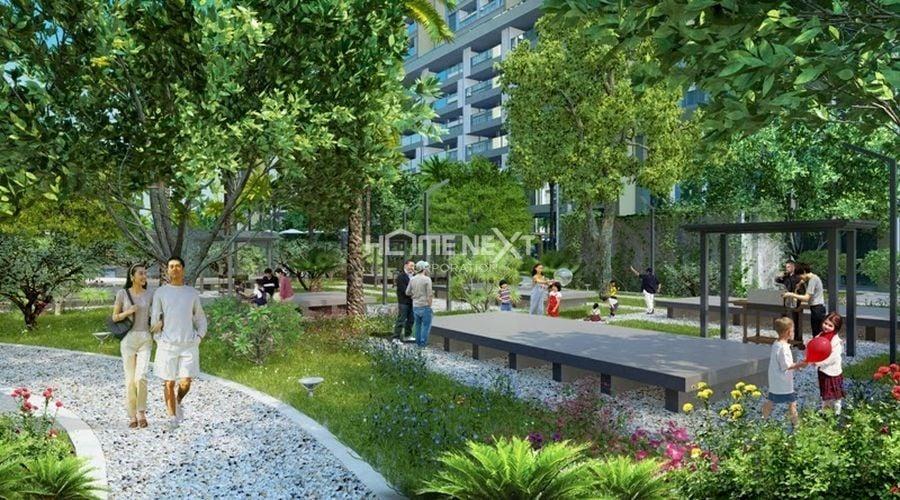 Khoảng không gian xanh mát của công viên nội khu xung quanh dự án