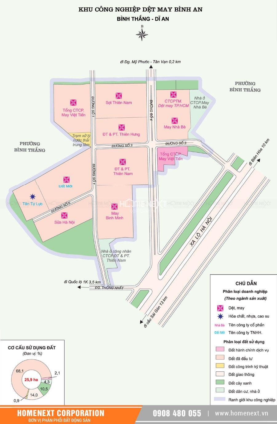 Bản đồ khu công nghiệp dệt may Bình An. Nhấp vào ảnh xem đầy đủ kích thước