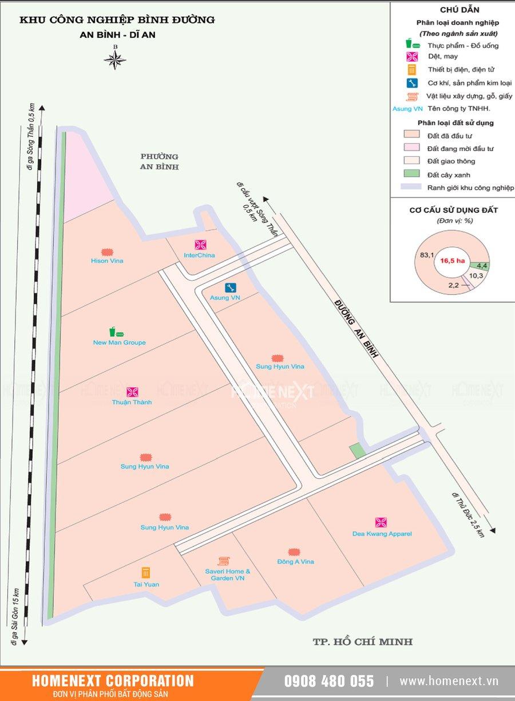 Bản đồ khu công nghiệp Bình Đường Dĩ An Bình Dương. Nhấp vào ảnh xem đầy đủ kích thước