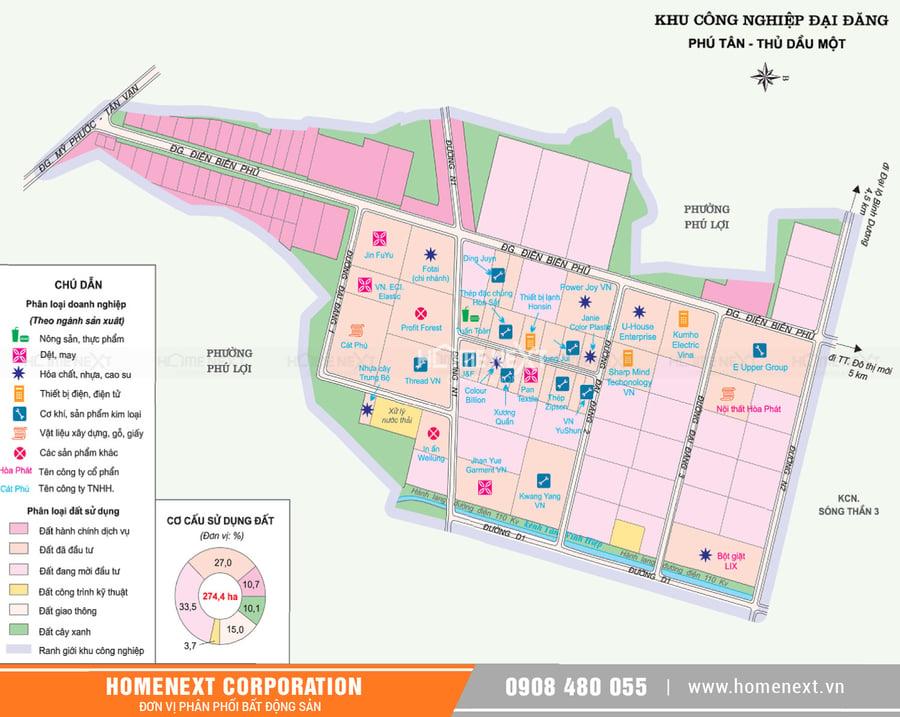 Bản đồ khu công nghiệp Đại Đăng tỉnh Bình Dương. Nhấp vào ảnh xem đầy đủ kích thước