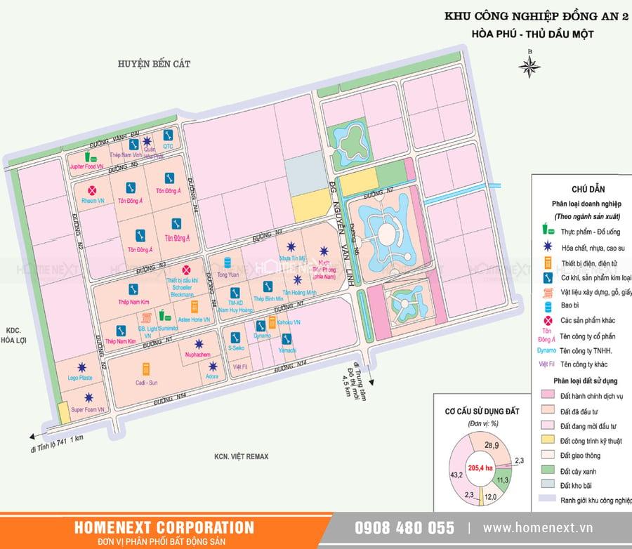 Bản đồ khu công nghiệp Đồng An 2 Thủ Dầu Một Bình Dương. Nhấp vào ảnh xem đầy đủ kích thước