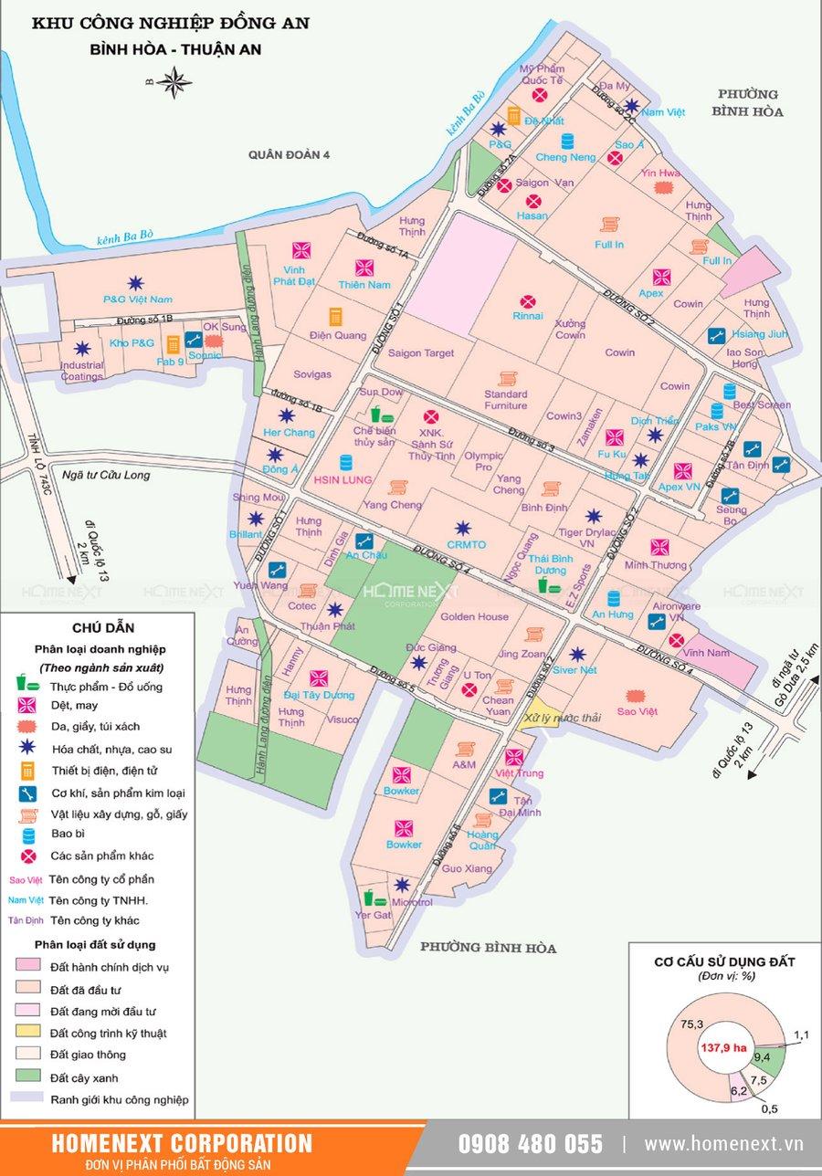 Bản đồ khu công nghiệp Đồng An Thuận An Bình Dương. Nhấp vào ảnh xem đầy đủ kích thước