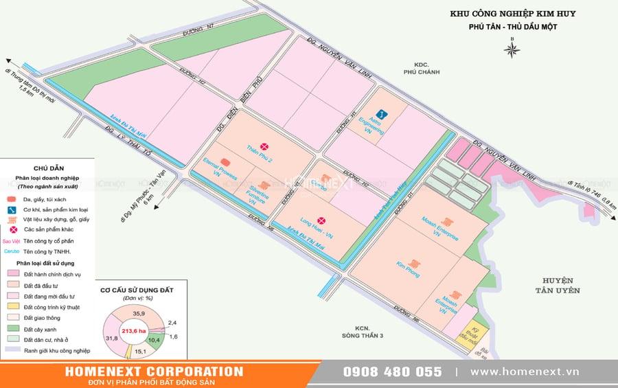 Bản đồ khu công nghiệp Kim Huy Bình Dương. Nhấp vào ảnh xem đầy đủ kích thước