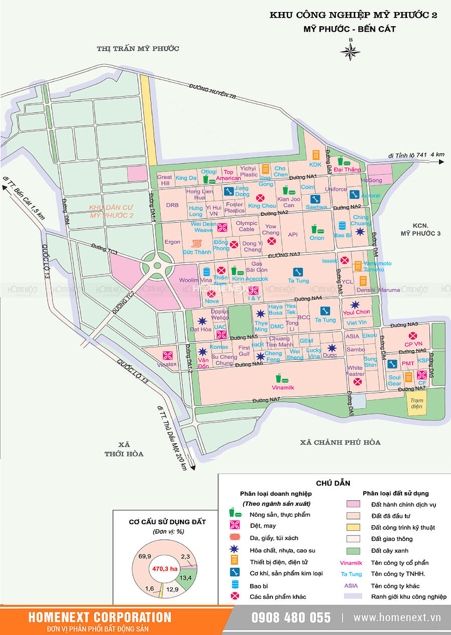 Bản đồ khu công nghiệp Mỹ Phước 2 Bến Cát Bình Dương . Nhấp vào ảnh xem đầy đủ kích thước