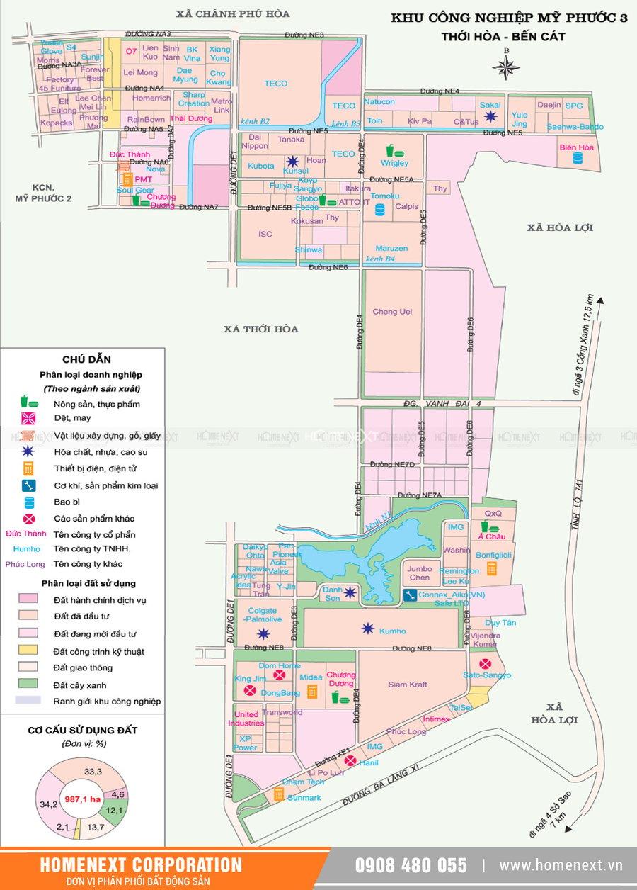 Bản đồ khu công nghiệp Mỹ Phước 3 Bến Cát Bình Dương . Nhấp vào ảnh xem đầy đủ kích thước
