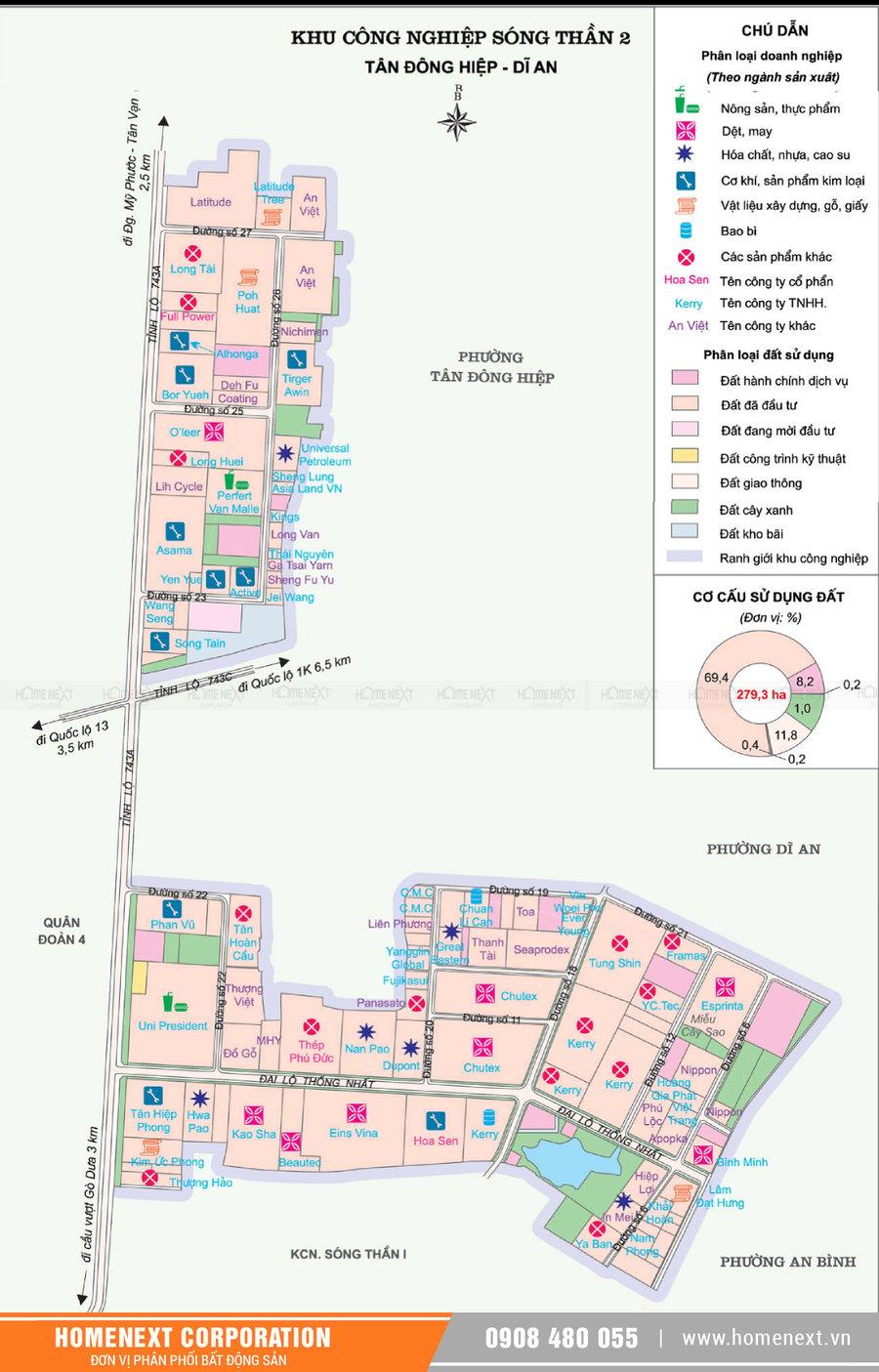 Bản đồ khu công nghiệp Sóng Thần 2 Dĩ An Bình Dương. Nhấp vào ảnh xem đầy đủ kích thước