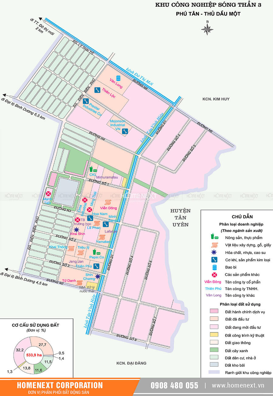 Bản đồ khu công nghiệp Sóng Thần 3 Thủ Dầu Một Bình Dương. Nhấp vào ảnh xem đầy đủ kích thước
