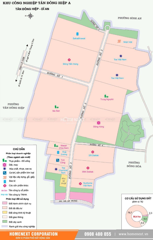 Bản đồ khu công nghiệp Tân Đông Hiệp A. Nhấp vào ảnh xem đầy đủ kích thước