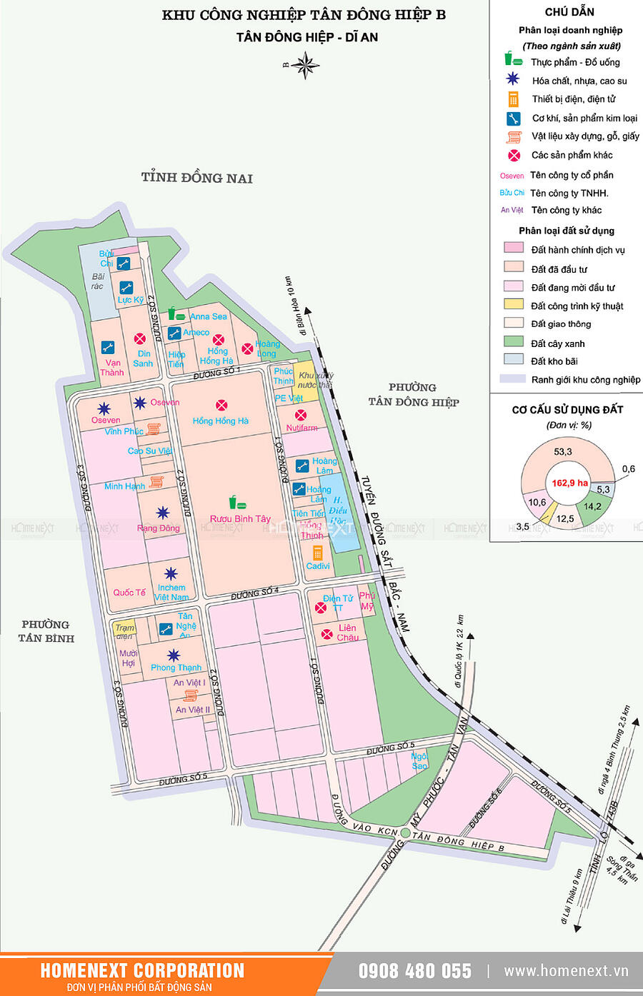 Bản đồ khu công nghiệp Tân Đông Hiệp B. Nhấp vào ảnh xem đầy đủ kích thước