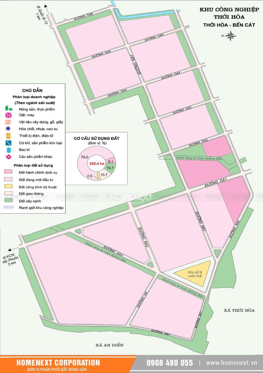 Bản đồ khu công nghiệp Thới Hòa. Nhấp vào ảnh xem đầy đủ kích thước