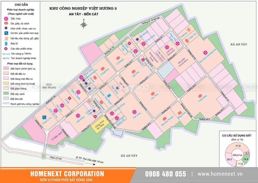 Bản đồ khu công nghiệp Việt Hương 2 Bến Cát Bình Dương. Nhấp vào ảnh xem đầy đủ kích thước
