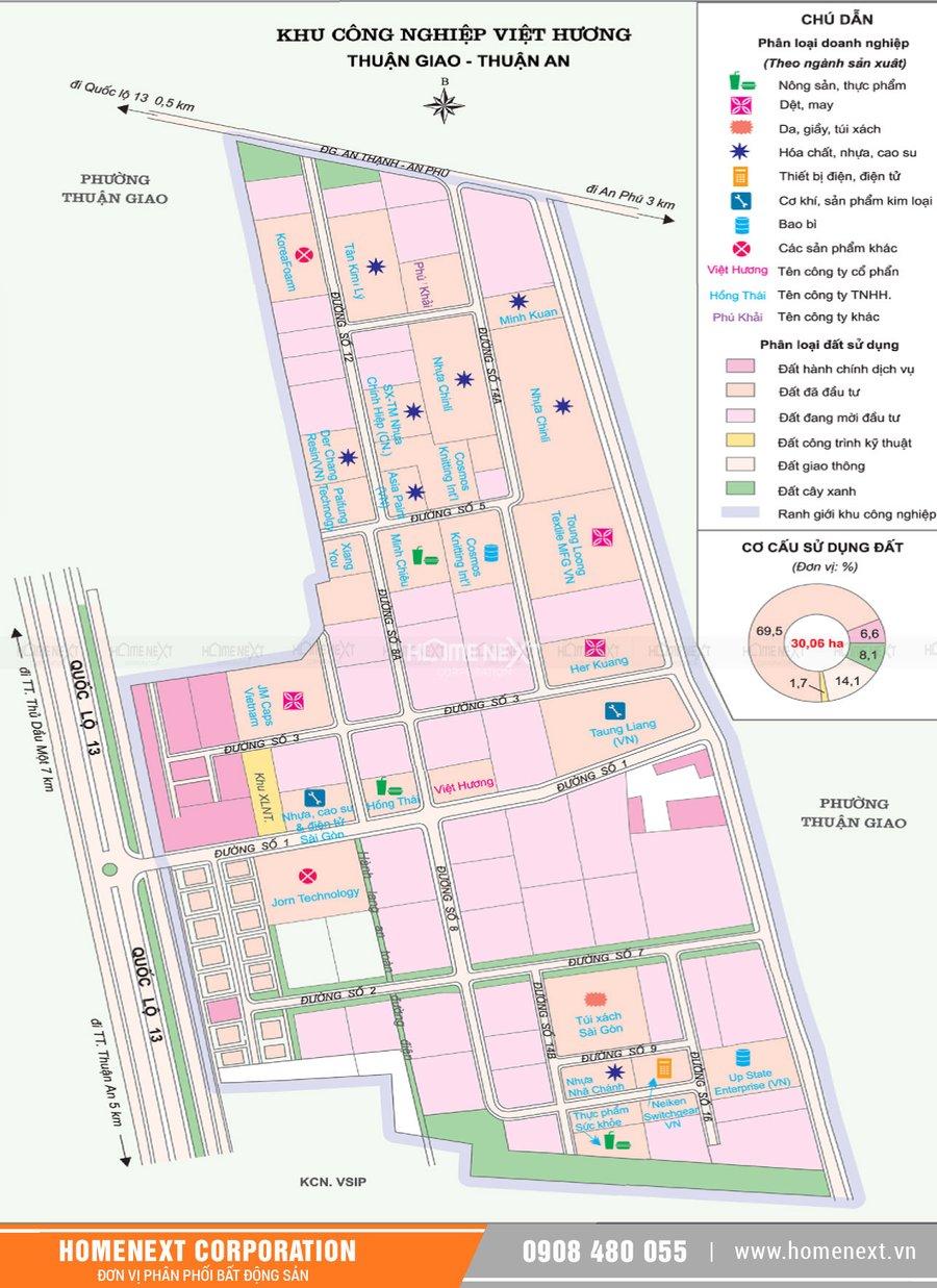 Bản đồ khu công nghiệp Việt Hương Thuận An Bình Dương. Nhấp vào ảnh xem đầy đủ kích thước