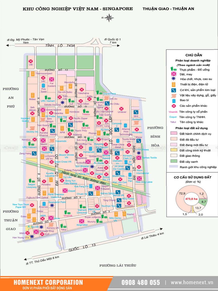 Bản đồ khu công nghiệp Vsip 1 Thuận An Bình Dương. Nhấp vào ảnh xem đầy đủ kích thước