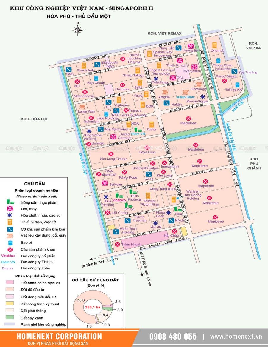 Bản đồ khu công nghiệp Vsip II. Nhấp vào ảnh xem đầy đủ kích thước