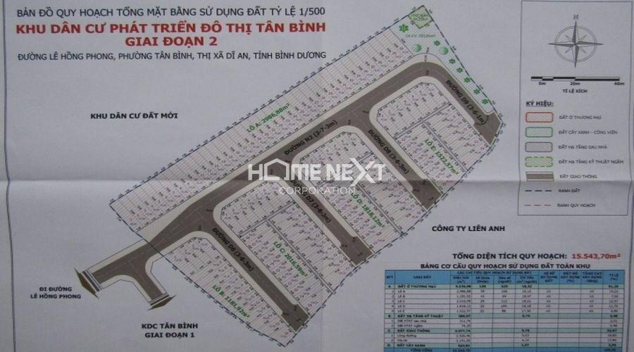 Bản đồ quy hoạch 1/500 khu nhà ở thu nhập thấp Tân Bình (giai đoạn 2)