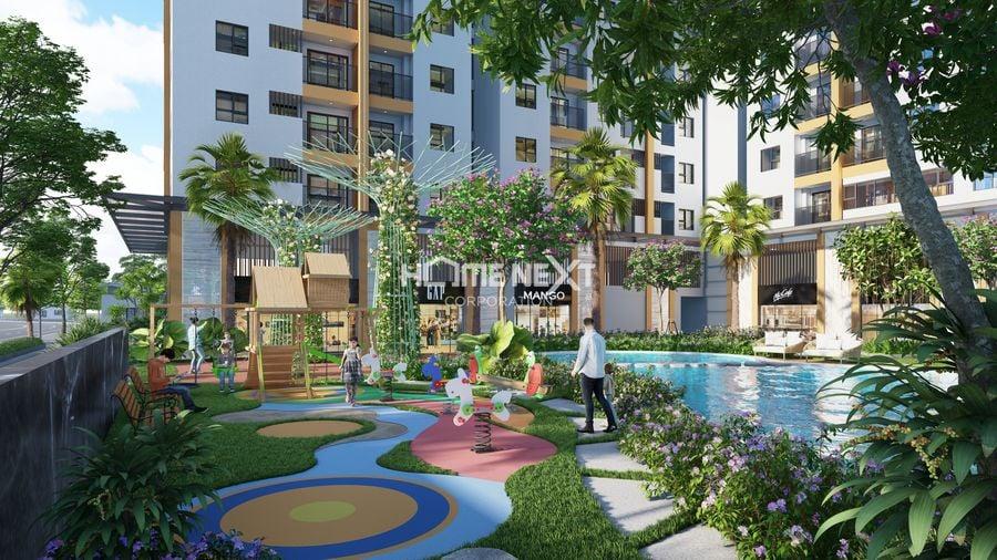 Khuôn viên dự án Tecco Felice Homes được thiết kế nhiều mảng xanh