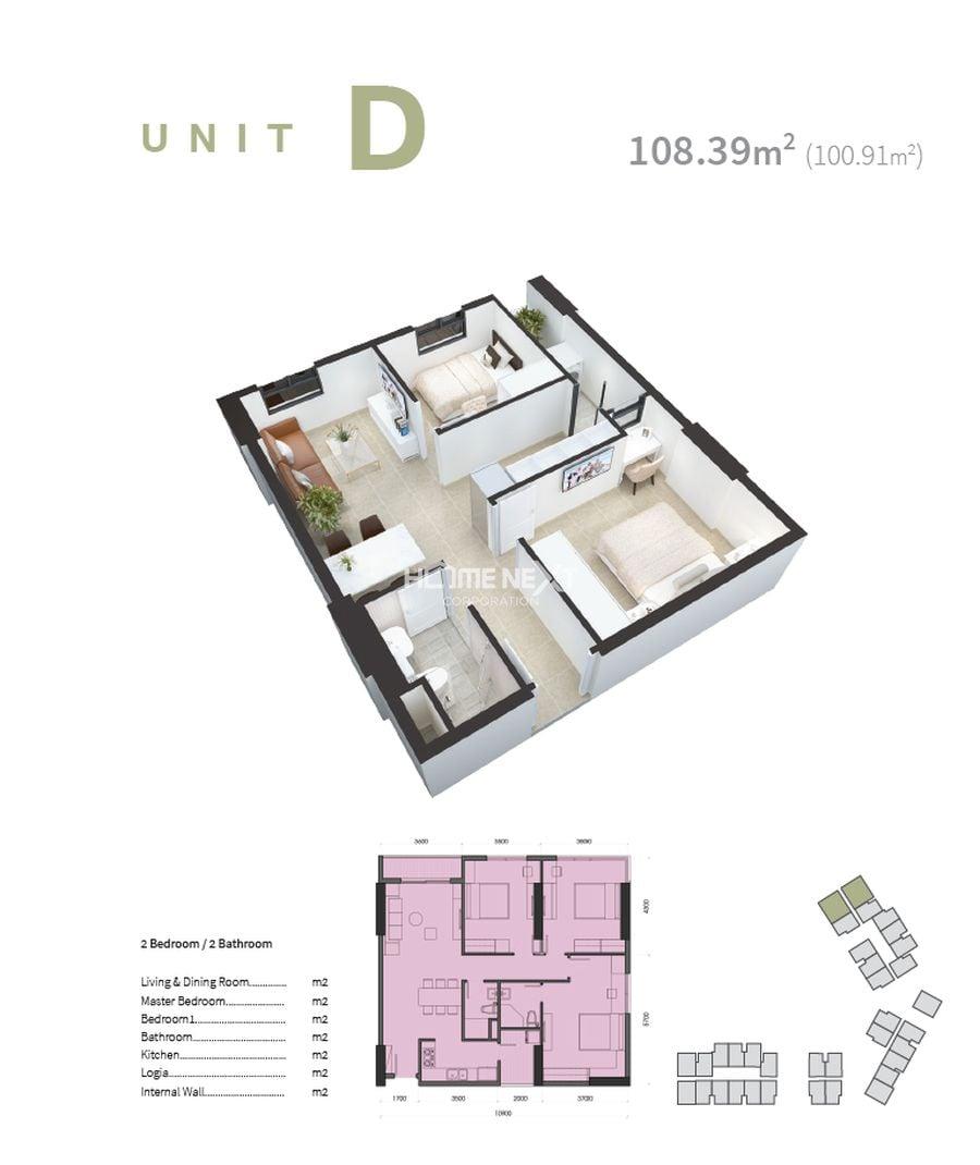 Mặt bằng căn hộ loai D