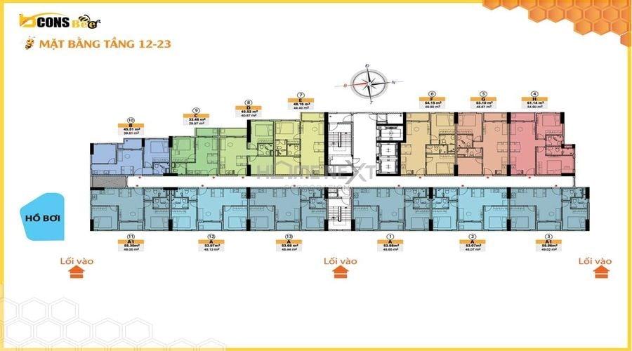 Mặt bằng từ tầng 12 – 23 của dự án