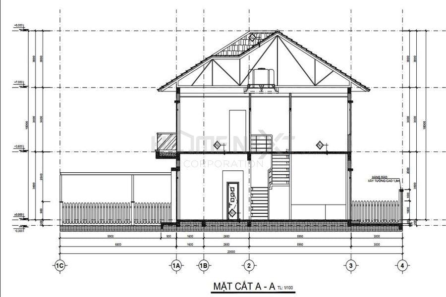 Bản vẽ mặt bằng biệt thự song lập của dự án Đại Phước Molita