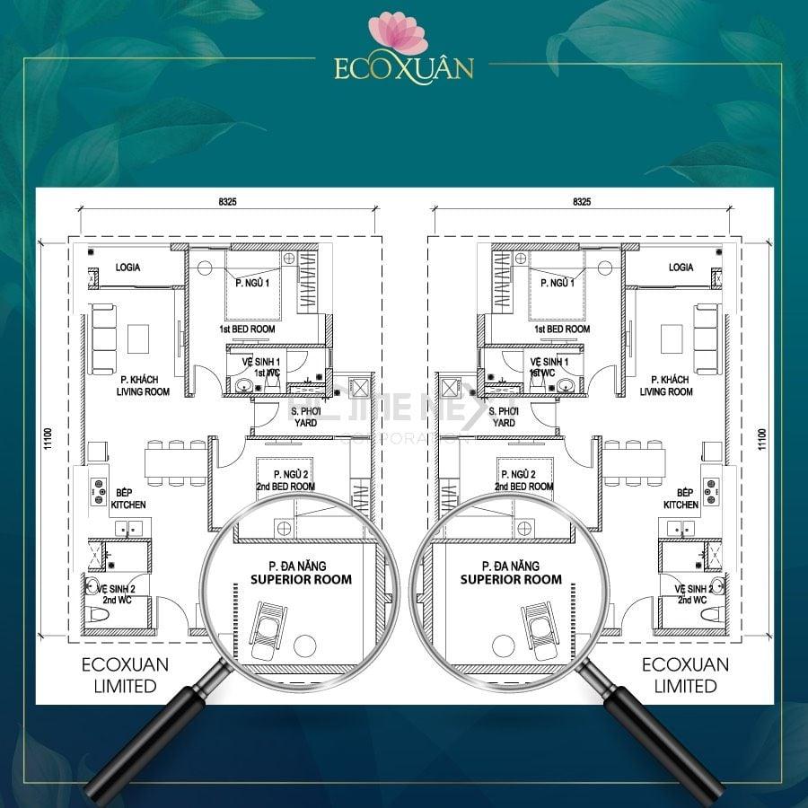 Mẫu căn hộ Eco Xuân 3 phòng ngủ với thiết kế hiện đại, đa năng hơn