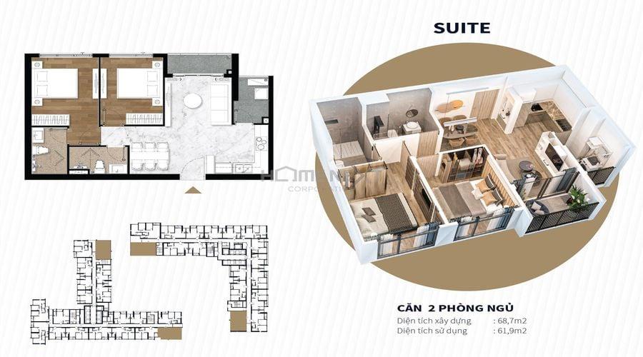 Mặt bằng mẫu căn hộ 2 phòng ngủ (68,7m2)