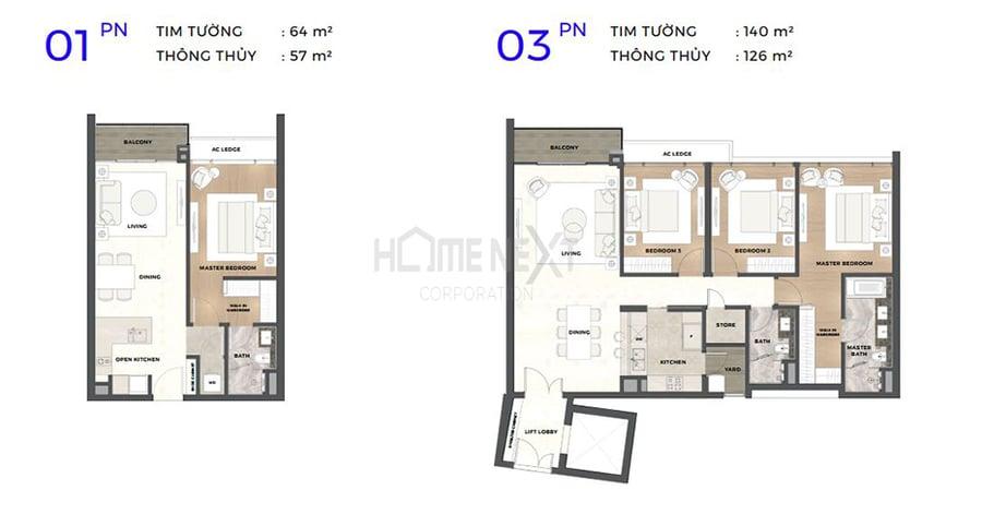 Mẫu bản vẽ căn 1 phòng ngủ và 3 phòng ngủ tại Astral City Thuận An