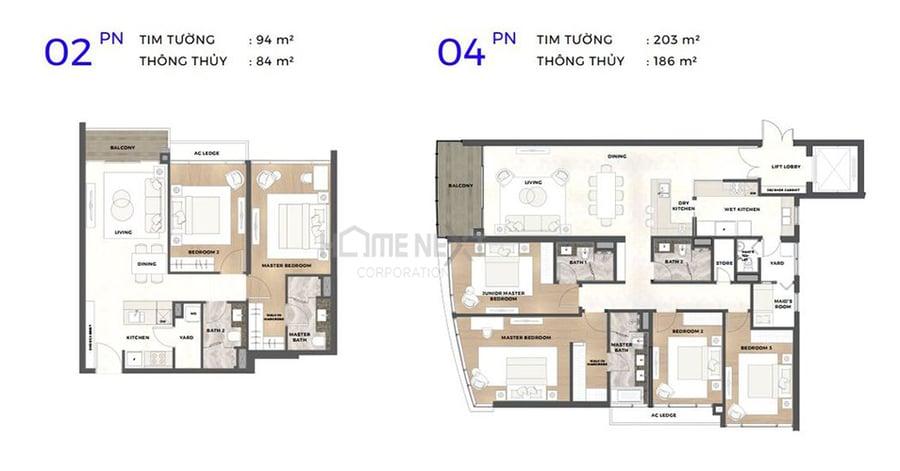 Mẫu bản vẽ căn 2 phòng ngủ và 4 phòng ngủ tại căn hộ Astral City