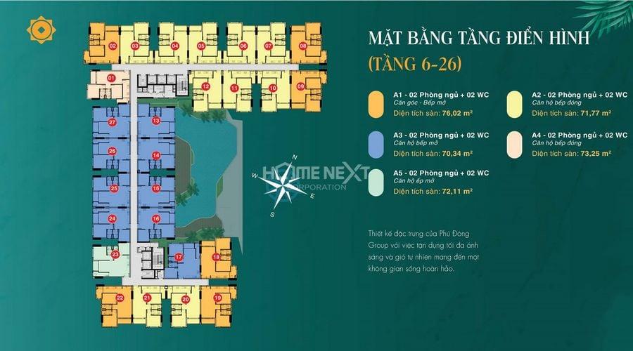 Mặt bằng điển hình dự án căn hộ chung cư Phú Đông Sky Garden
