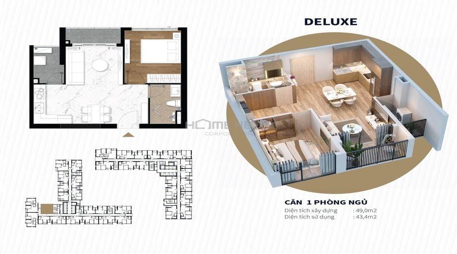 Mặt bằng mẫu căn hộ 1 phòng ngủ