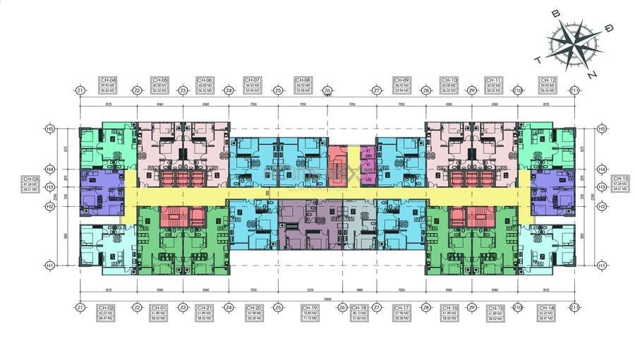 Mặt bằng điển hình dự án Tecco Home An Phú