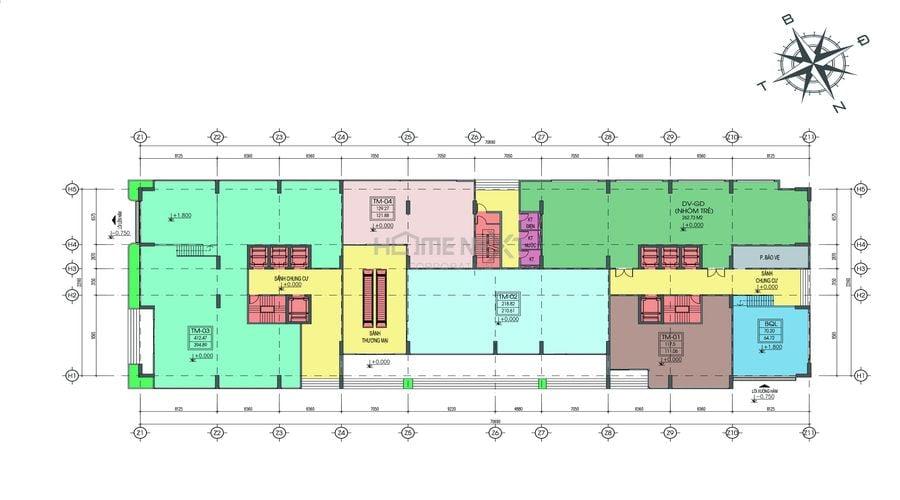 Mặt bằng tầng tầng 1 dự án Tecco Home An Phú