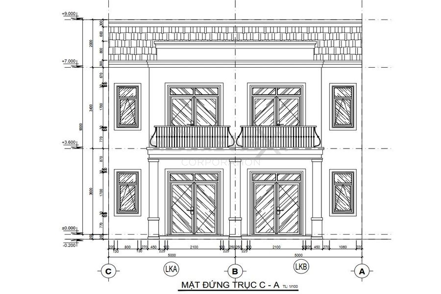 Bản vẽ mặt bằng nhà phố liên kế dự án Đại Phước Molita
