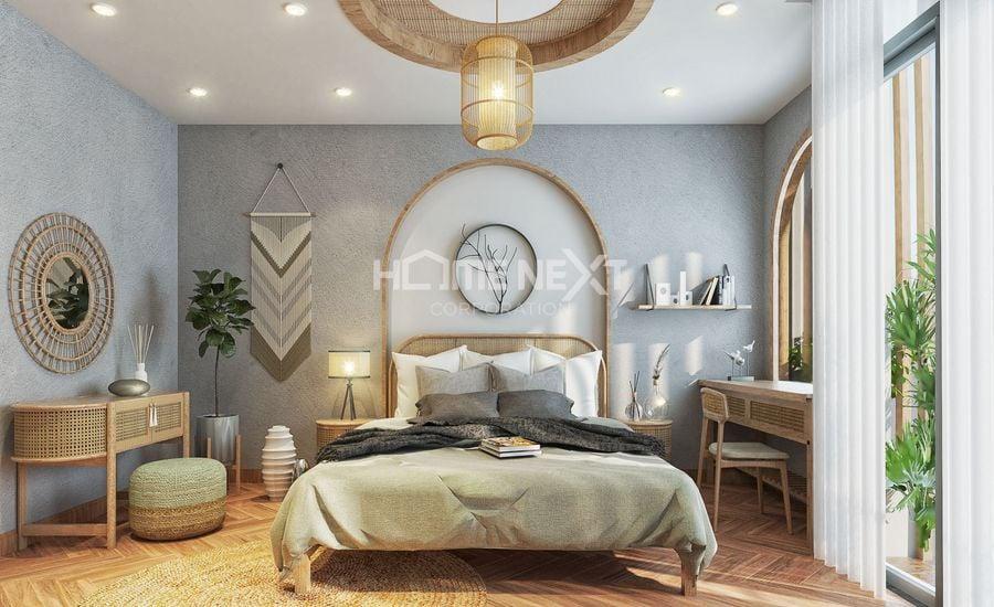 Phòng ngủ kiểu Nhật ấn tượng với các chất liệu tự nhiên
