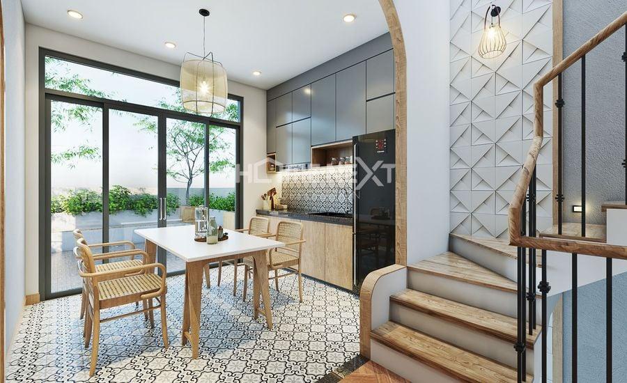 Khu vực bếp đơn giản với tầm nhìn ra ban công xanh mát