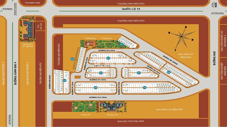 mặt bằng phân lô dự án Avenue City Bình Dương