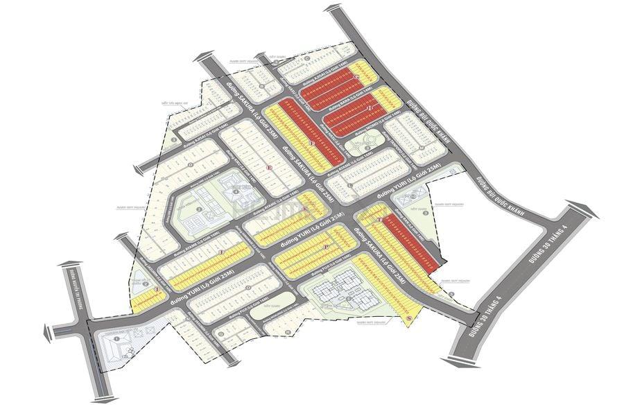 Mặt bằng phân lô dự án nhà phố Takara Residence