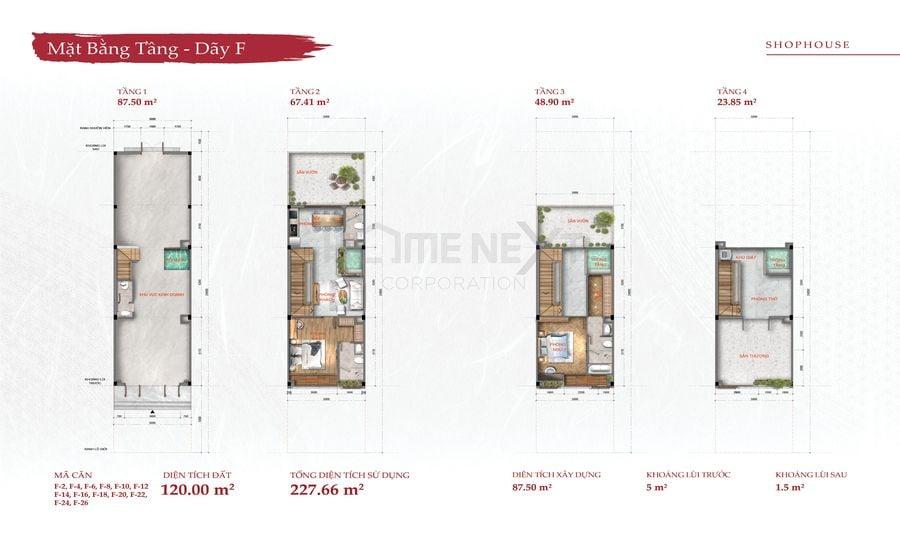 Mặt bằng tầng Shophouse Takara Residence - Diện tích đất 120m2