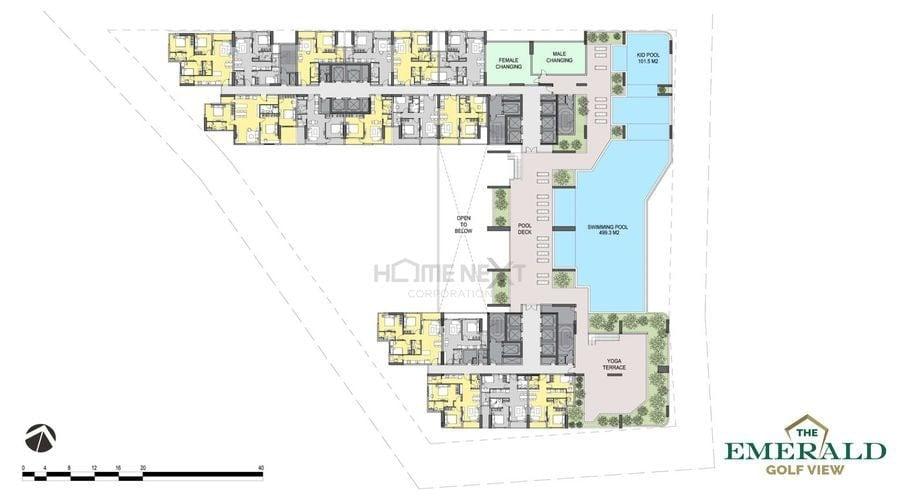 Mặt bằng tầng 6 tiện ích nội khu tại Emerald Bình Dương