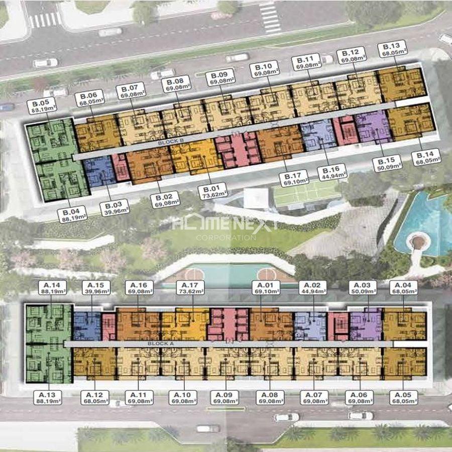 Mặt bằng tầng điển hình block A, B – tầng 4 -19 và tầng 21 – 33